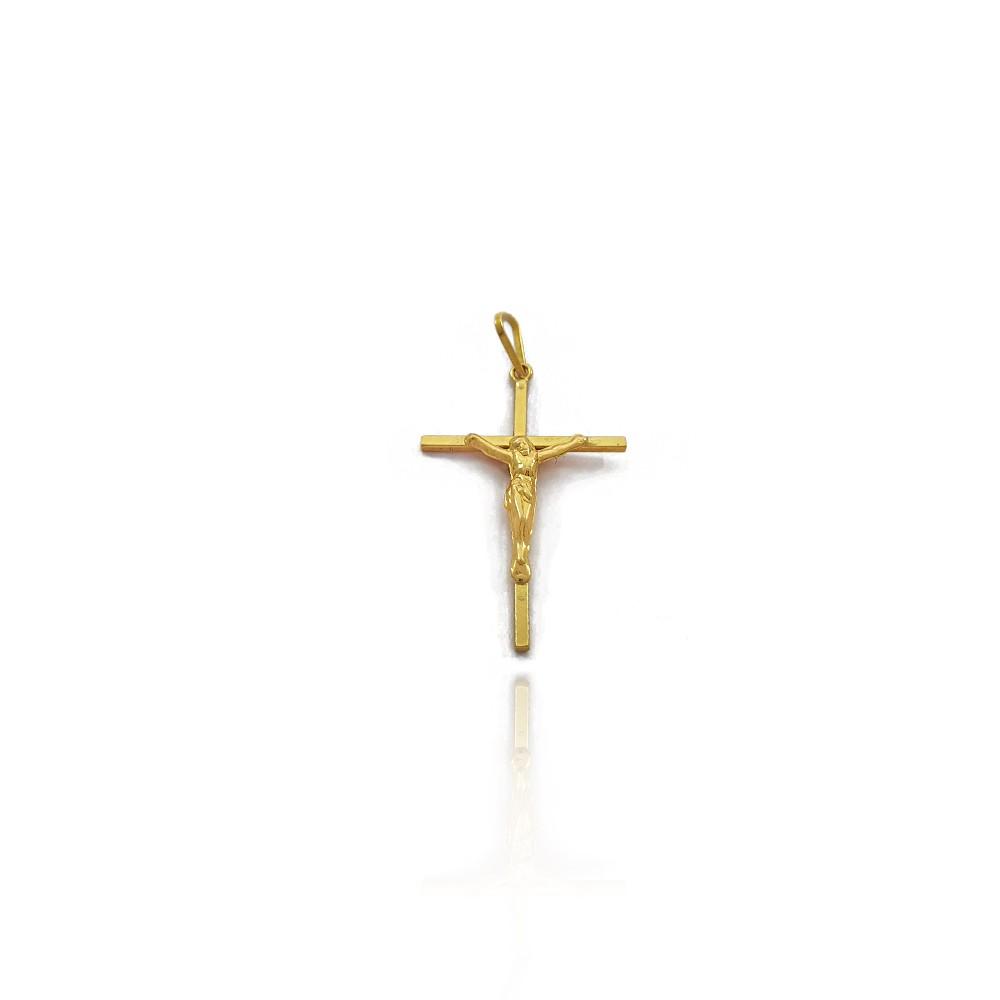Pingente Masculino Crucifixo Reto com Imagem de Jesus 2.6cm Ouro 18K - 703014K