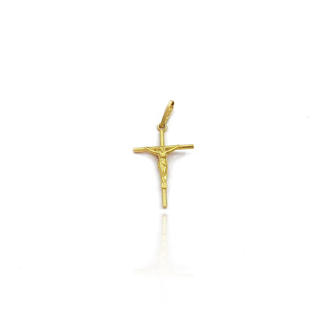 Pingente Masculino de Ouro 18K Crucifixo Abaulado com Imagem de Jesus 2.0cm - 703013K