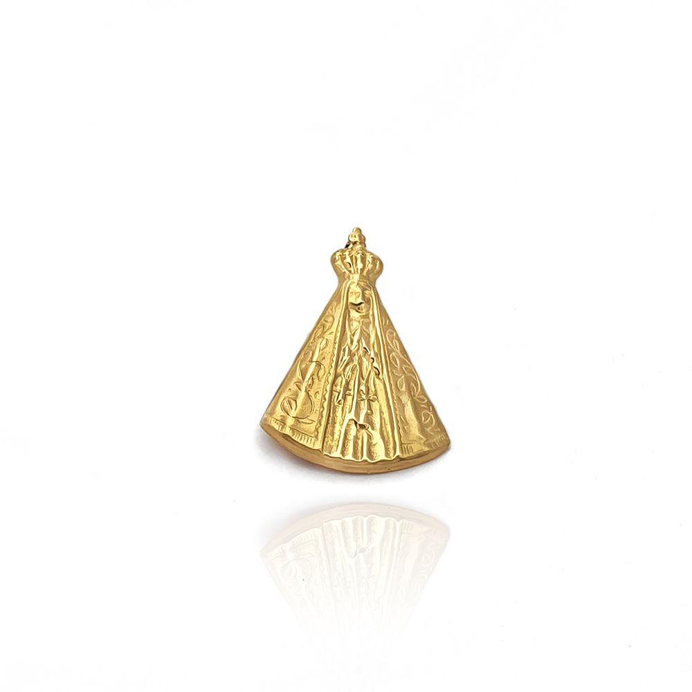 Pingente Medalha de Nossa Senhora Aparecida Trabalhado Ouro 18K - 703005K