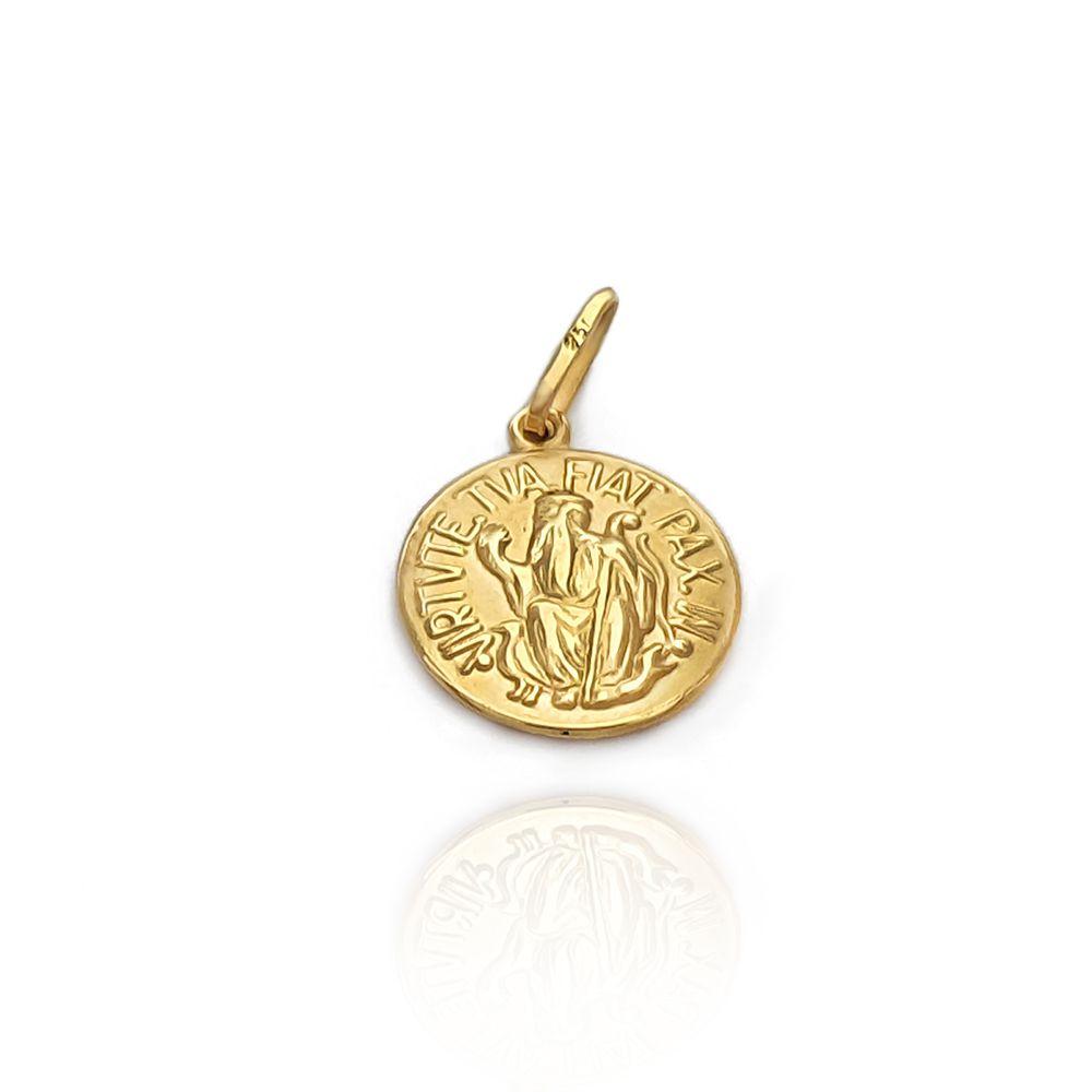 Pingente Medalha Redonda de São Bento 1.50 cm Ouro 18K - 703008K