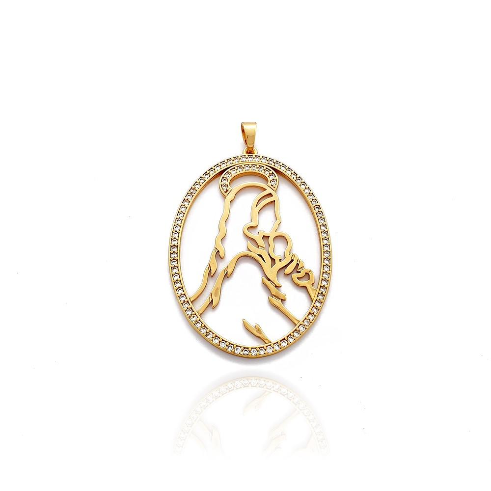 Pingente Medalhão Nossa Senhora com Menino Jesus - 8030450A