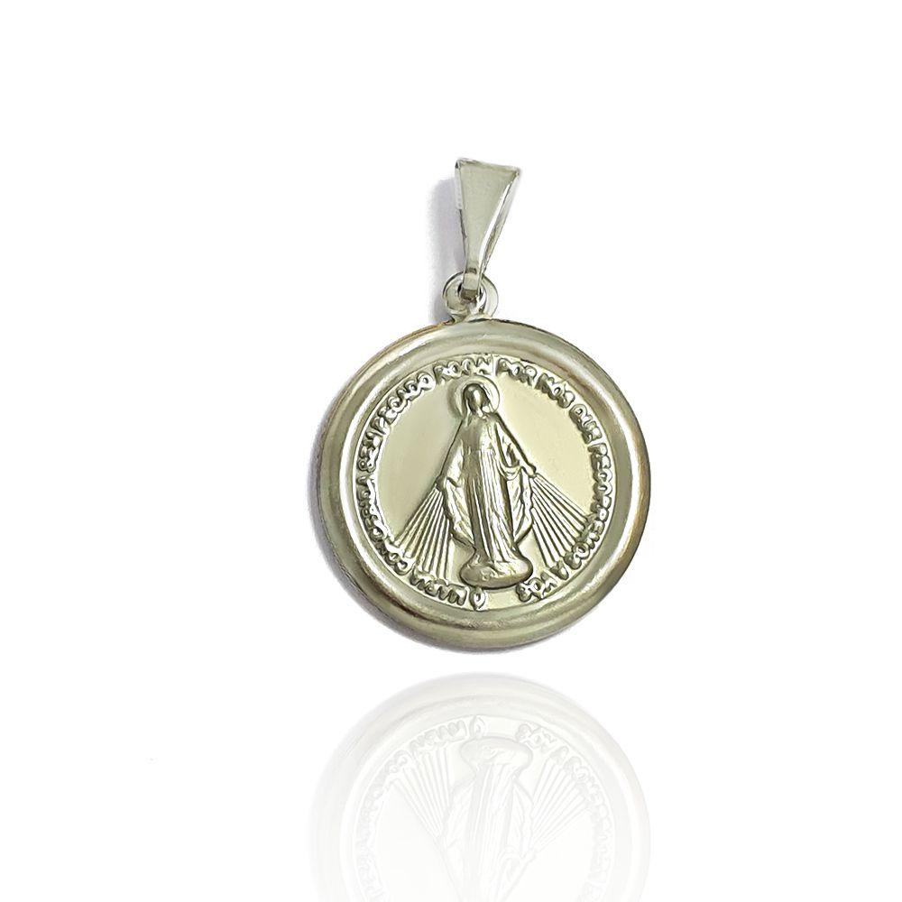 Pingente Nossa Senhora das Graças Redondo com 2.20cm Aço Inox - 603002AI