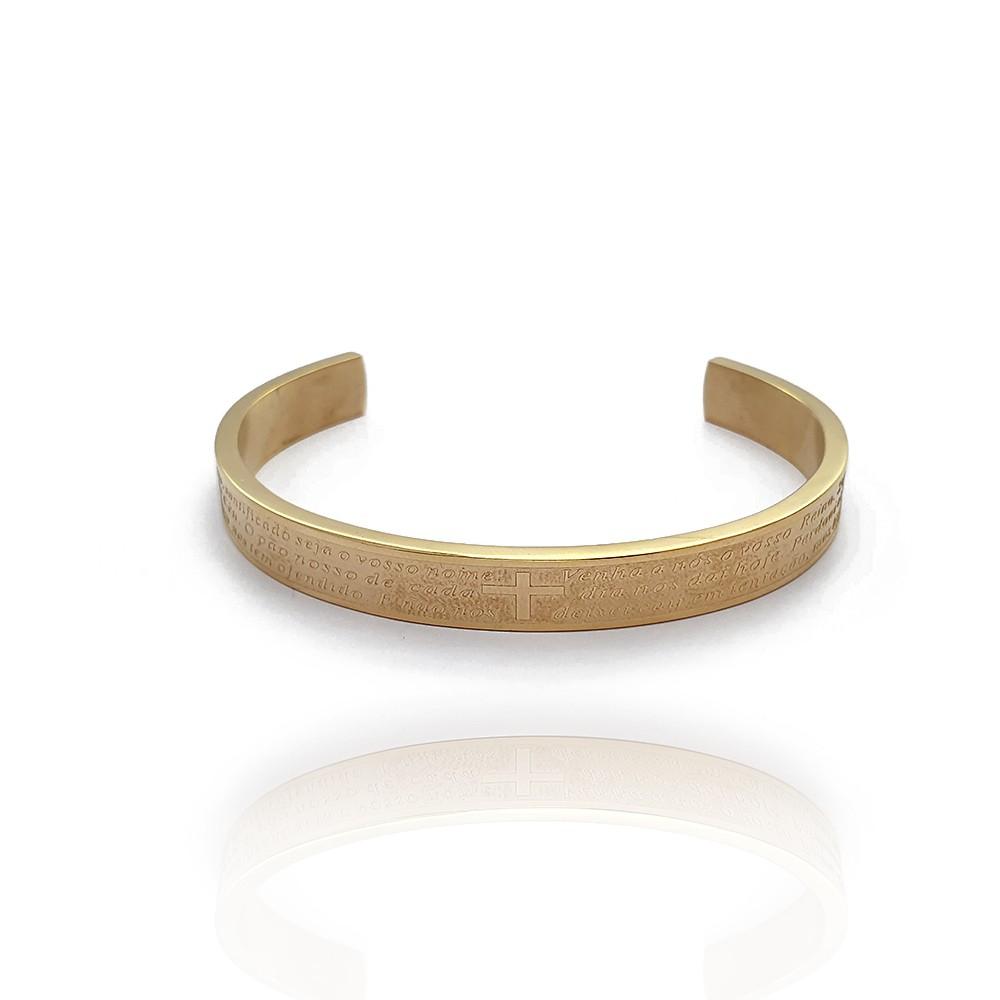 Pulseira Bracelete Aço Inox com Pai Nosso Rígida - 605016AI