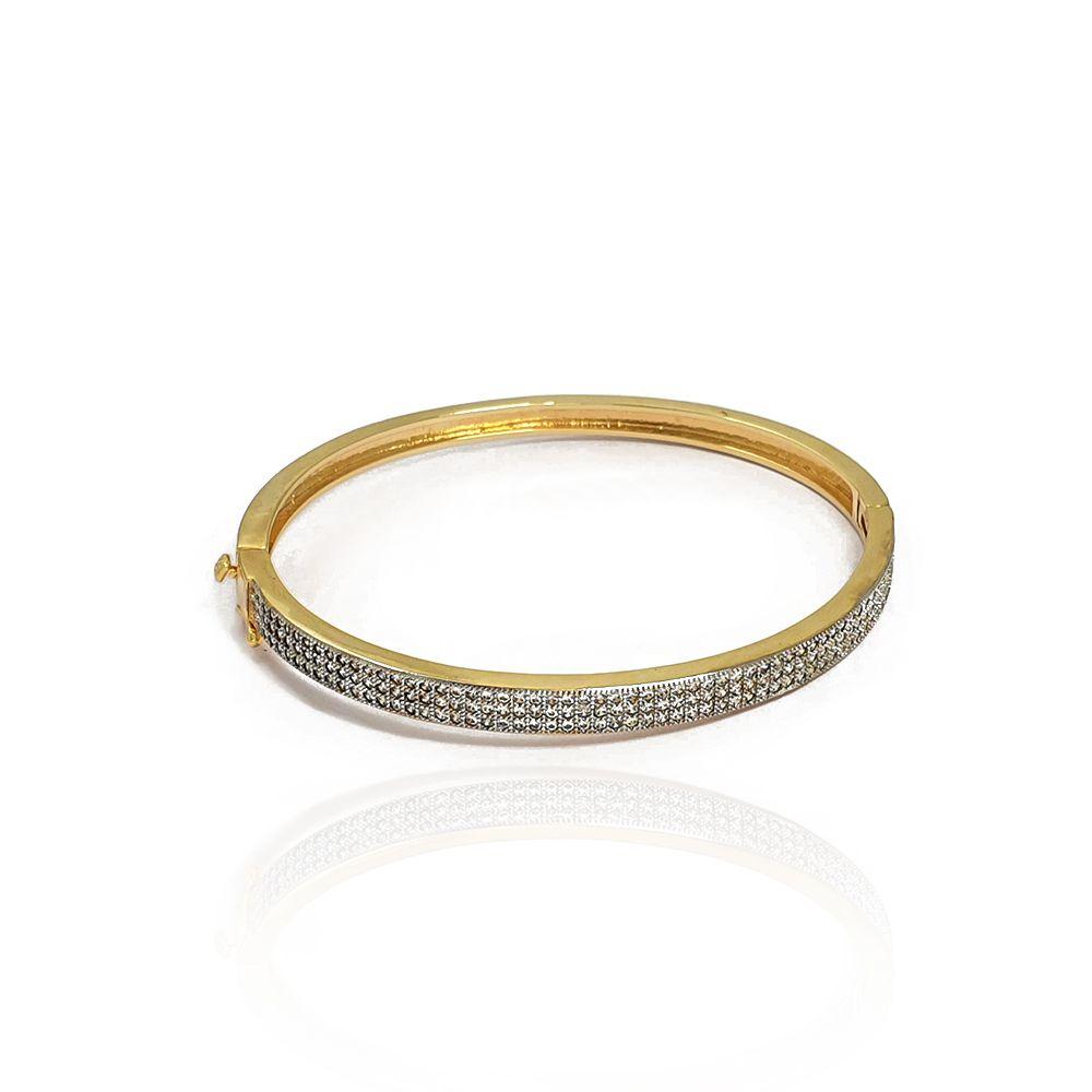Pulseira Bracelete Cravejado com Zircônias Brancas Semijoias - 8050287A
