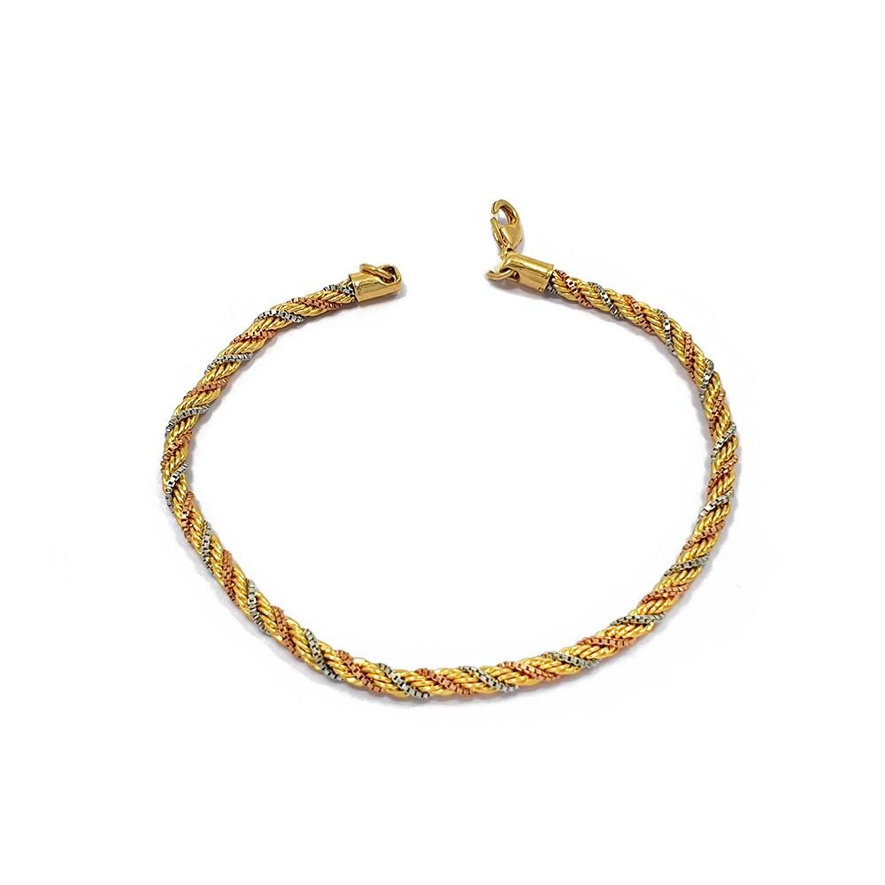 Pulseira Cordão Baiano com 3 Fios nas 3 Cores do Ouro Semijoias - 8050282A