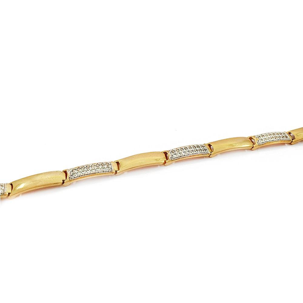 Pulseira Feminina com Elos Retangulares Alternados Lisos e com Zircônias Brancas Semijoias - 805069A