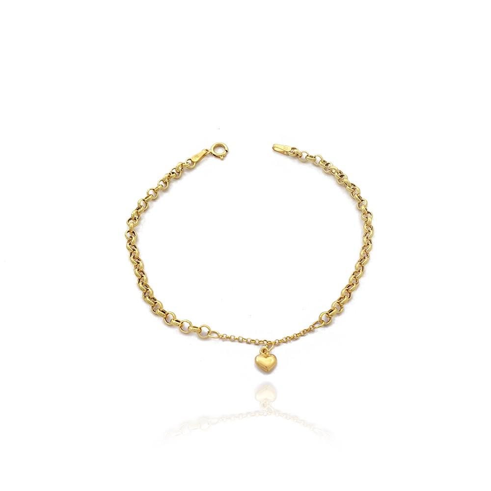 Pulseira Feminina em Ouro 18K Elo Portugues com Pingente de Coração 20 cm - 705011K