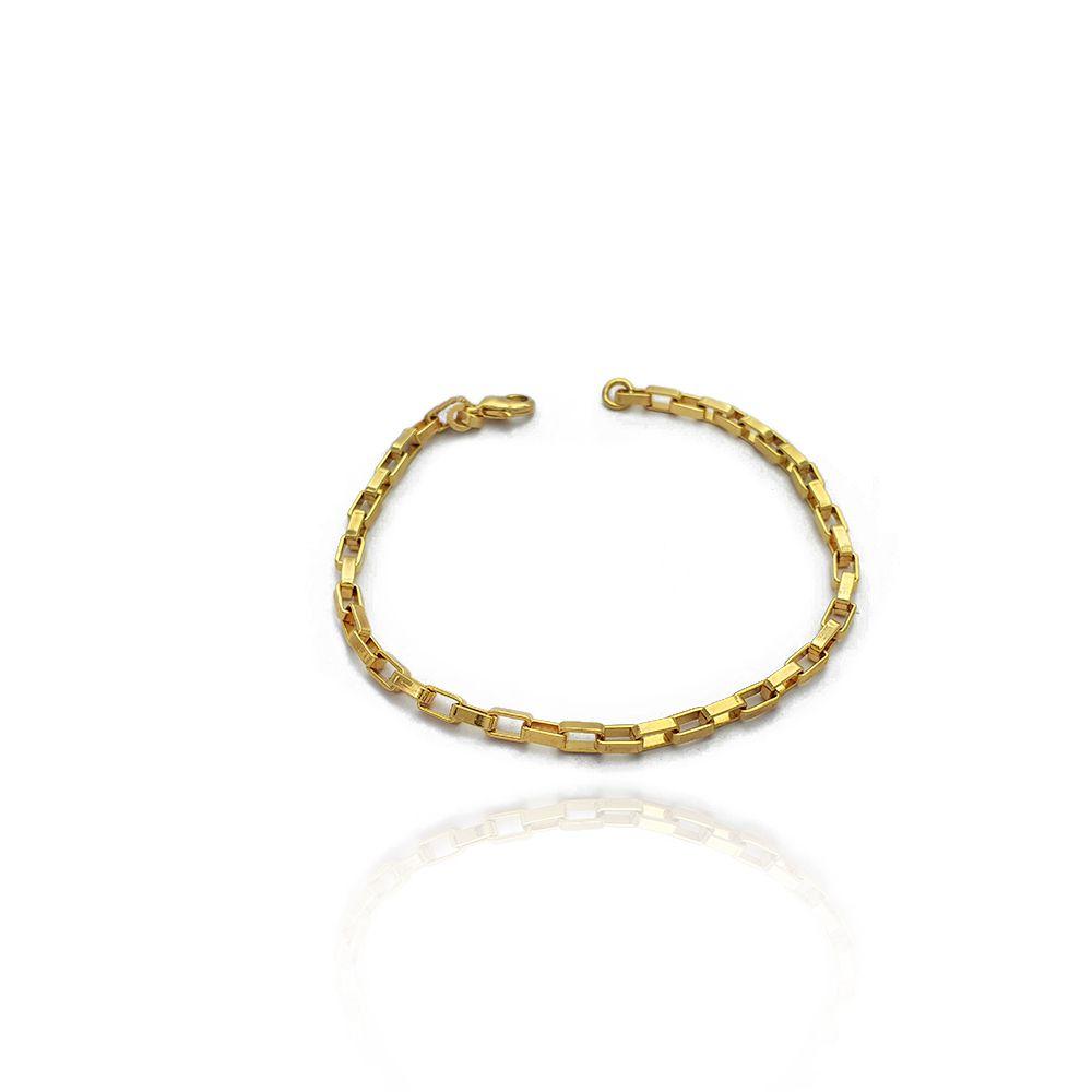 Pulseira Masculina com Elos Cartiers Retangular com 18 cm Semijoias - 805087A