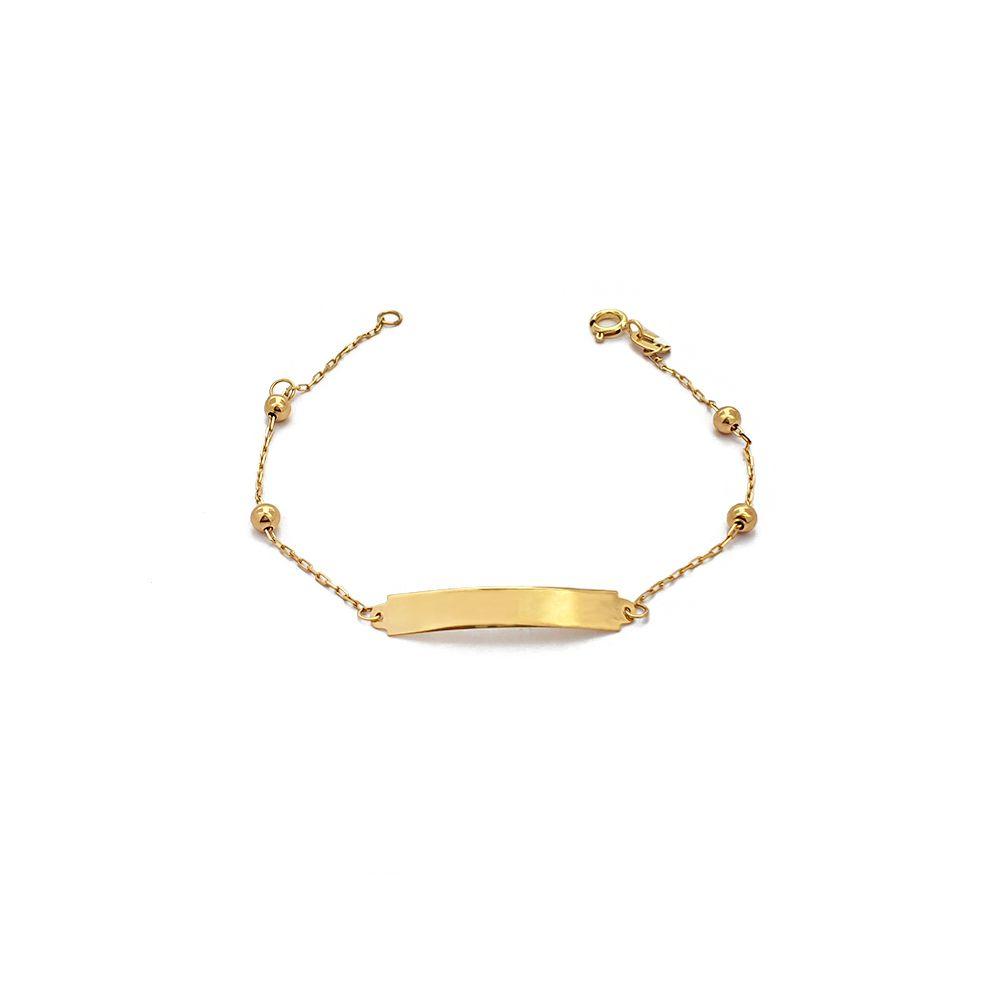 Pulseira Mini Cartiers de Bolinhas Infantil e Chapinha Ouro 18K - 705004K