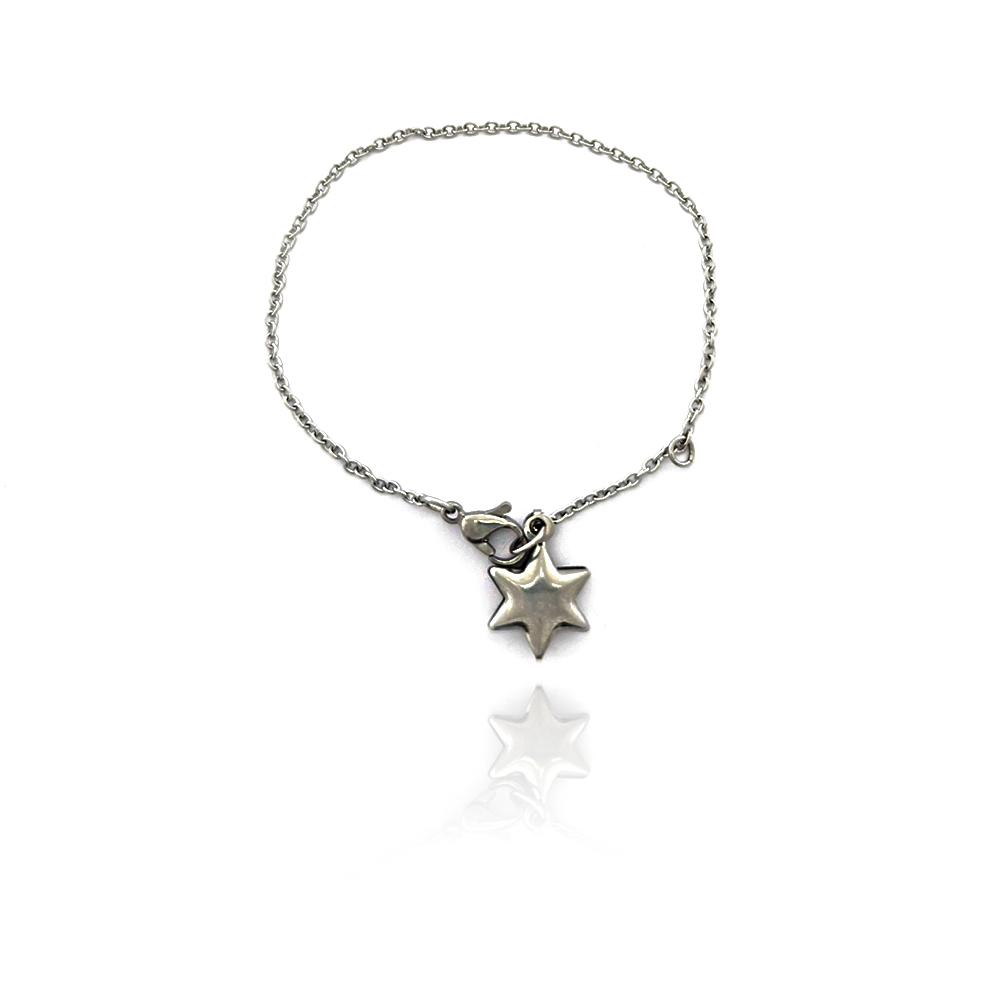 Pulseira Portuguesa com Pingente de Estrela em Aço Inox - 605028AI