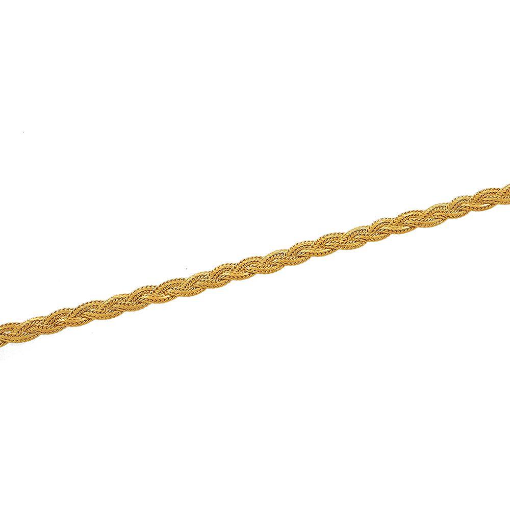 Pulseira Feminina Trançada Dourada com 17 cm Semijoias - 805034A