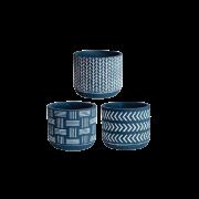 Cachepot Azul em Cimento 7 cm