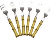 Conjunto 6 Garfos p/ Mesa de Aço Inox c/ Cabo de Plástico Bambu Natural 20 cm