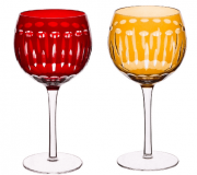 Taça para Vinho de Vidro Lapidadas Elegance Lyor Âmbar/Vermelha 370 ml (UND).