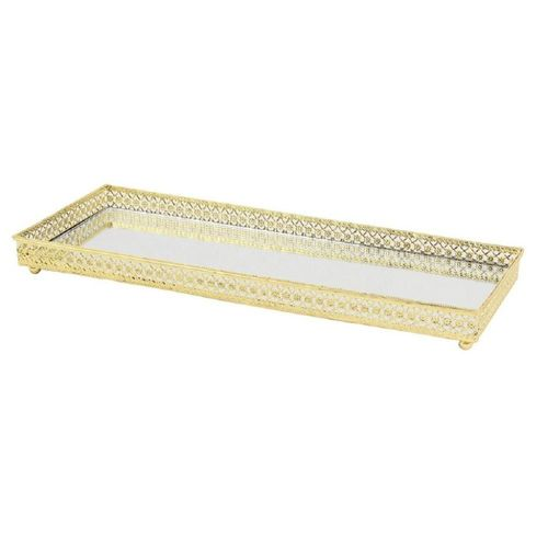 Bandeja Decorativa Dourada c/ Espelho 35x13x0,5 cm