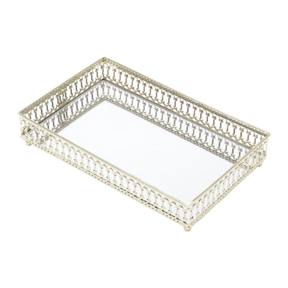 Bandeja Metal Dourada Mirror Classic 21x14x0,5 cm