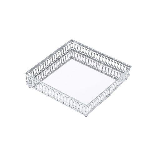 Bandeja Metal Mirror Border Prata 16x16x0,4 cm