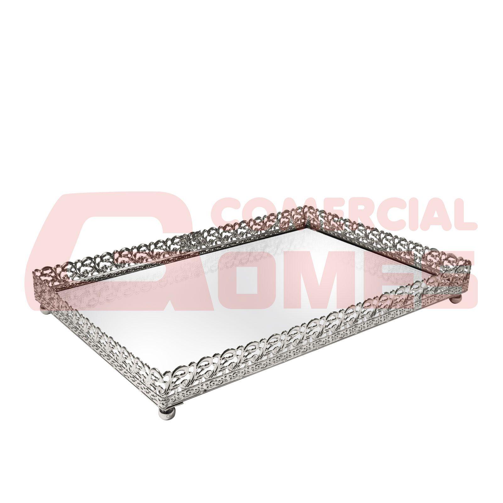 Bandeja Metal Prata Arabesco Espelhada