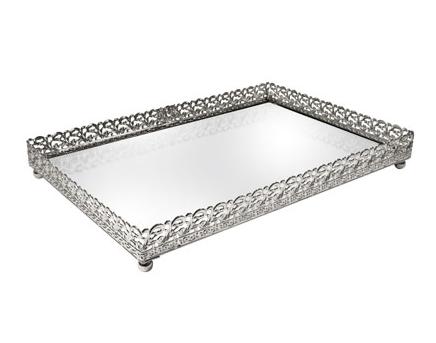 Bandeja Metal Prata Arabesco Espelhada 27x19x0,4 cm
