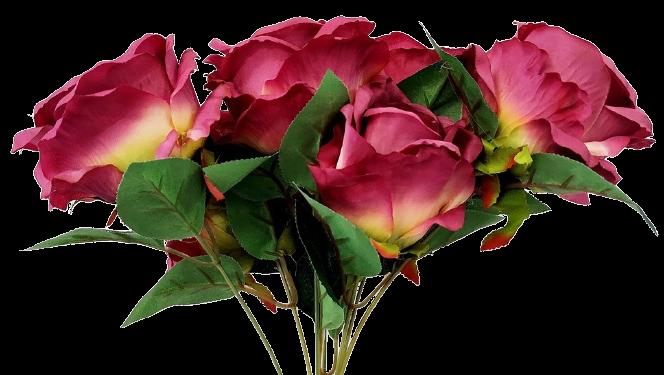 buque de Rosas lilás Artificial 7 galhos 45 cm