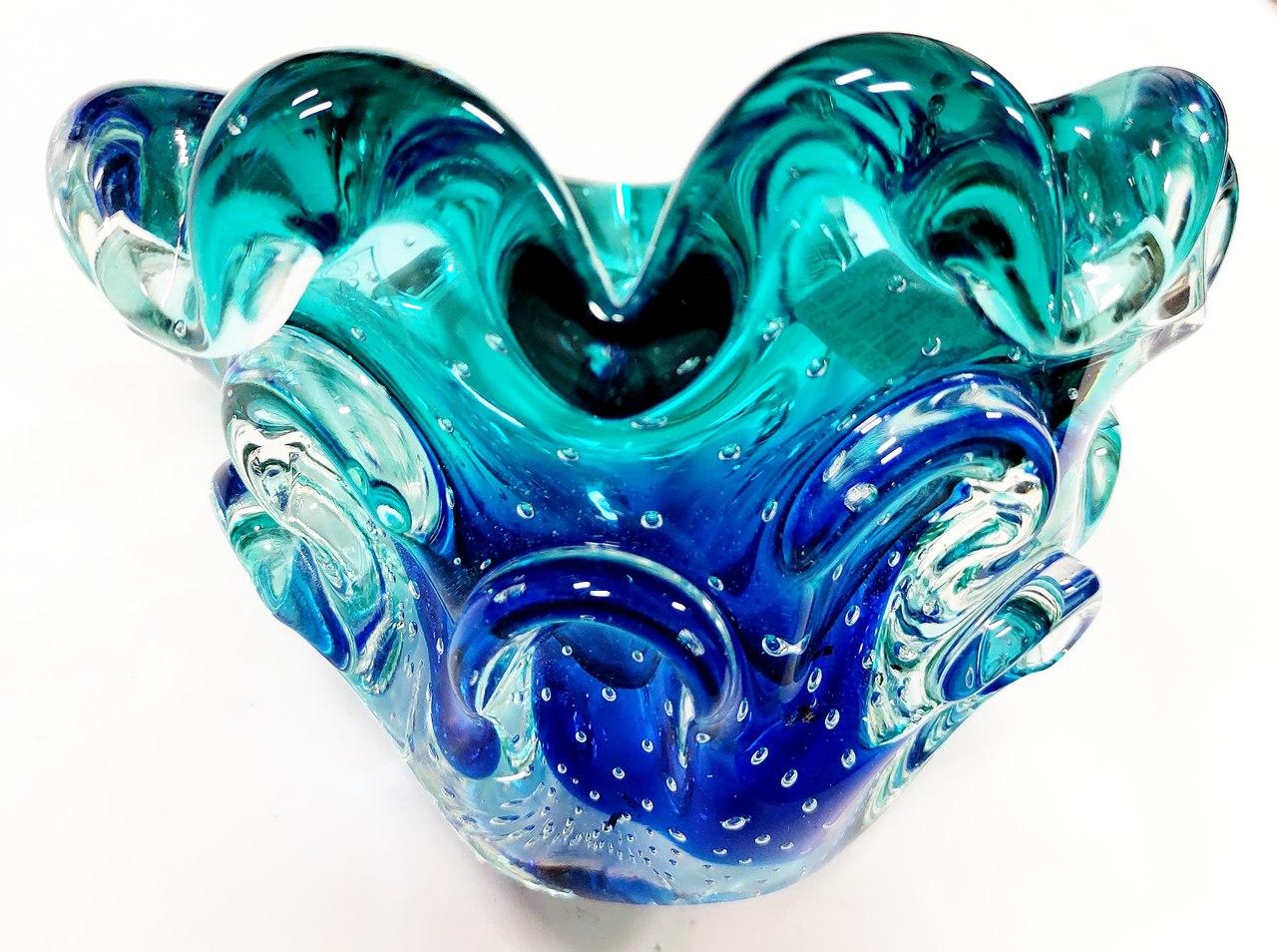 Cachepot Azul com Esmeralda Murano 10 cm