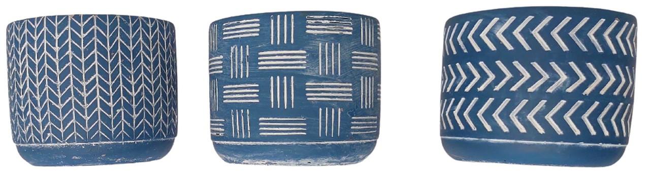 Cachepot Azul em Cimento 10,5 cm