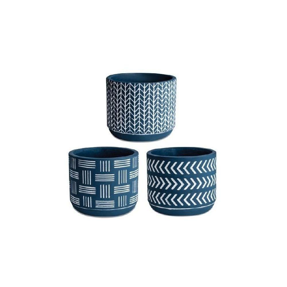 Cachepot Azul em Cimento 7cm
