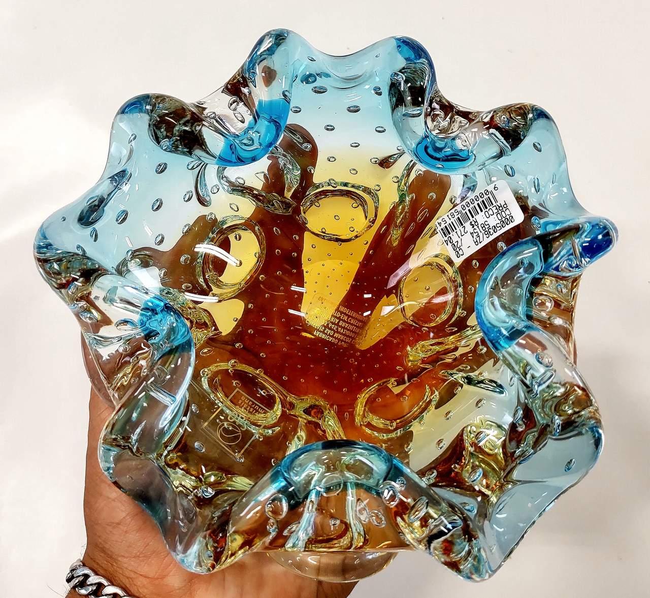 Centro de Mesa Azul com Âmbar Murano 8 cm