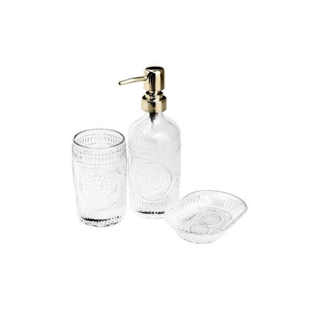 Jogo de Banheiro em Vidro Prestige Lux 3 peças Dourado