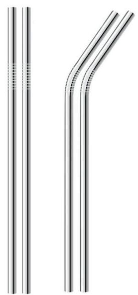 Kit Canudo de Metal com 4 unidades
