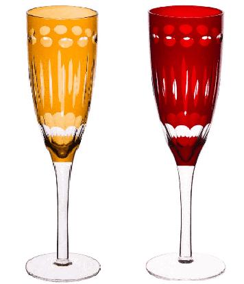 Taça para Champagne de Vidro Lapidadas Elegance Lyor Âmbar/Vermelha 150 ml (UND).