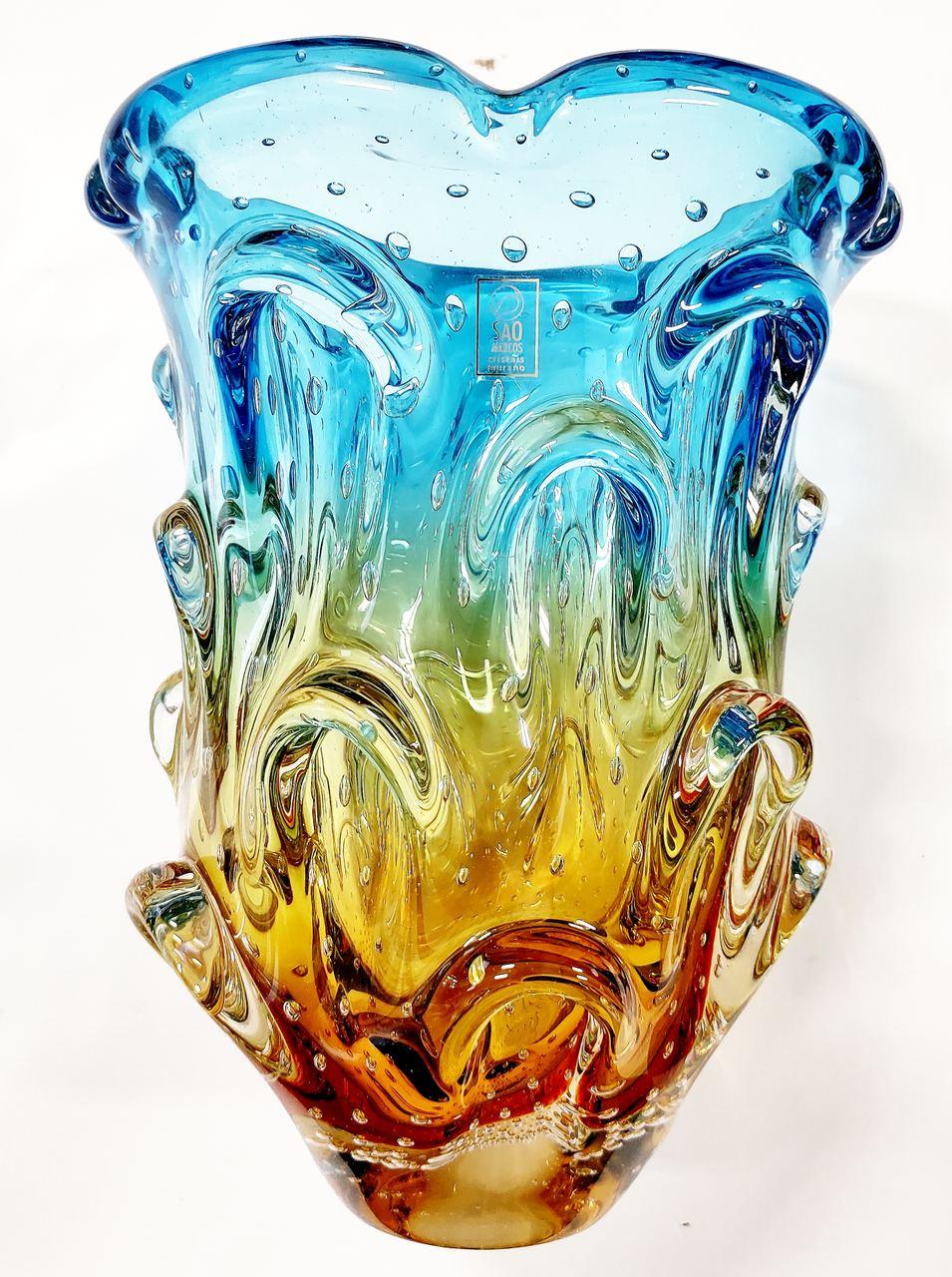 Vaso Azul com Âmbar Murano 26 cm
