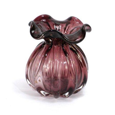 Vaso em Estilo Murano Italy Púrpura e Rose 14 cm