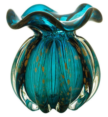 Vaso em Estilo Murano Italy Azul e Rose 13 cm