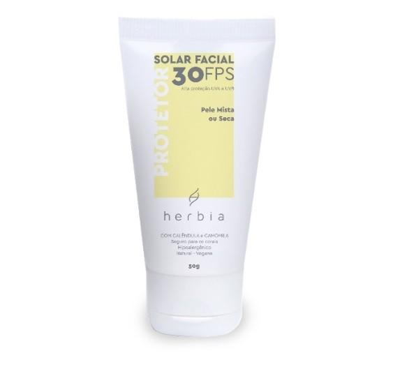 Protetor Solar Facial Natural FPS 30 -  Pele Mista ou Seca - Herbia