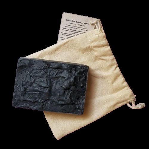 Sabonete Facial Natural - Carvão de Bambu e Menta - Floë Natural