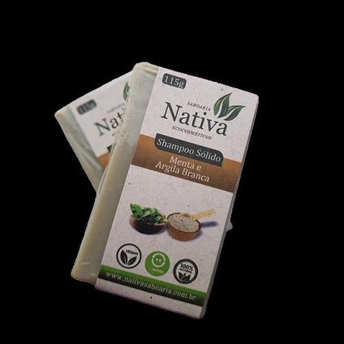 Shampoo Sólido Natural - Argila Branca e Menta - Nativa Eco-Cosmética  - SALVIA