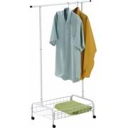 Arara para roupas com cesto e rodízios