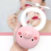 Espelho  Portátil Led Ventilador Porquinho/Gatinho