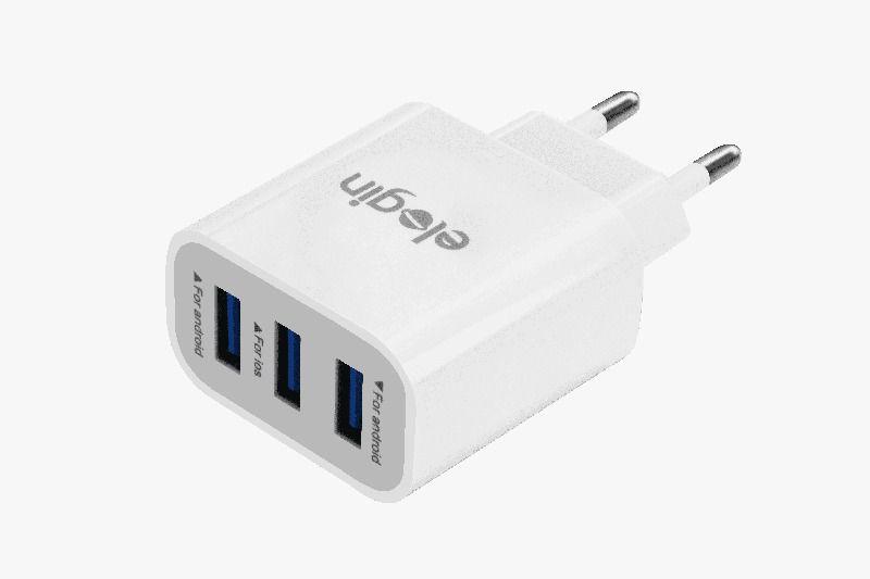 CARREGADOR ELOGIN  TRIPLO USB COM CABO LIGHTNING BRANCO - TC08