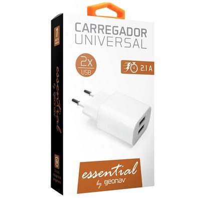 CARREGADOR UNIVERSAL 2XUSB BRANCO 2.1A (FAST CHARGER)