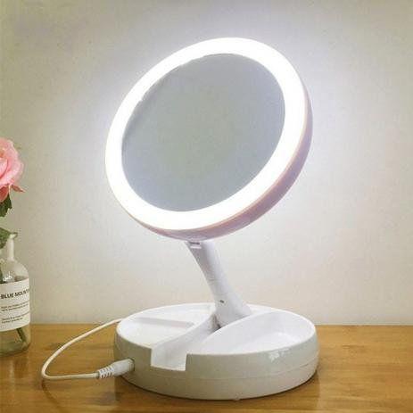 Espelho Redondo Com Led Ring Light, Porta Maquiagem (Amplia 10x)