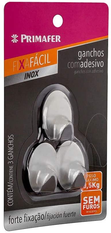 GANCHO ADESIVO 3PC 0,5KG INOX