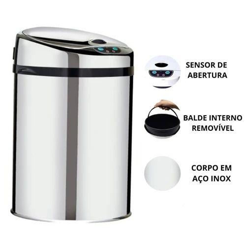 LIXEIRA AUTOMÁTICA WTL-900 9L LINHA LUXO INOX
