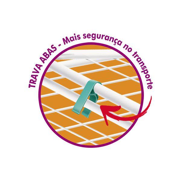 VARAL DE CHAO PEGASUS - ACO - BRANCO - COM ABAS E RODINHAS