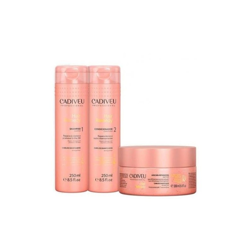 Cadiveu Kit Hair Remedy Shampoo 250 Ml+Cond.250 Ml + Mascara 200 Ml