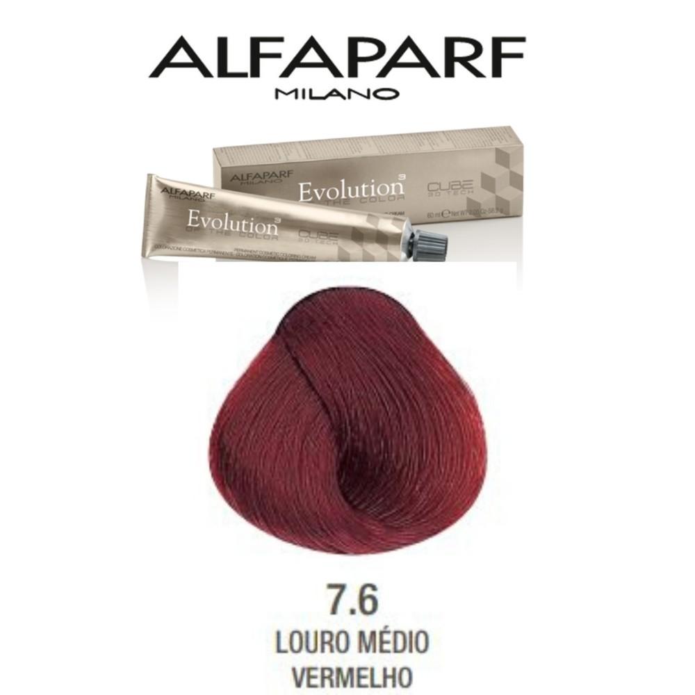 Alfaparf Coloração Evolution 7.6 - Loiro Médio Vermelho