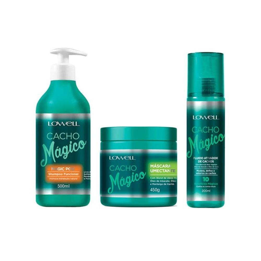Lowell Cacho Magico Kit Shampoo 500ml Mascara Umectante 450g Ativador De Cachos 200ml
