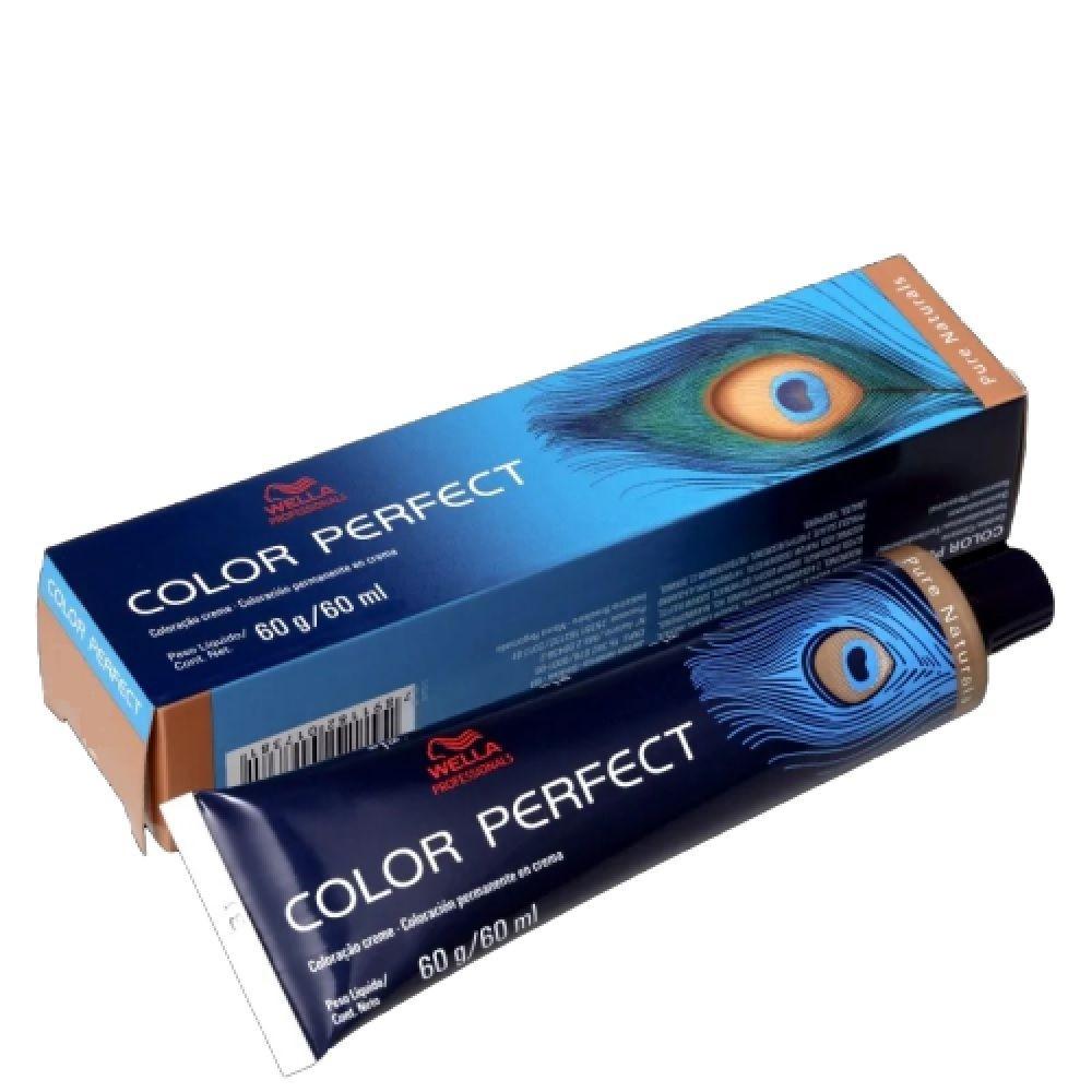Wella Coloração Permanente Color Perfect 60g - Pure Naturals 7/07 Louro Médio Natural Marrom