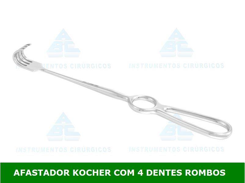 Afastador Kocher Dentes Rombos 22 cm P/ Uso Geral - ABC